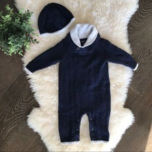 Other - 👶3 for $13👶 navy blue knit romper with hat